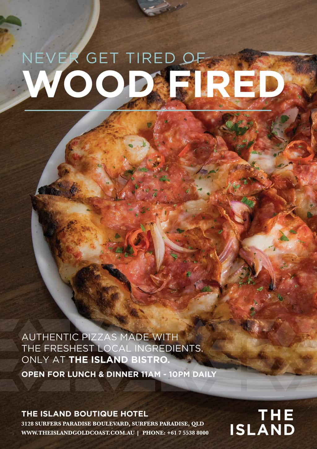 The Island Bistro Wood Fired [object object] - food posters pizza - The Island Bistro   Gold Coast Restaurants